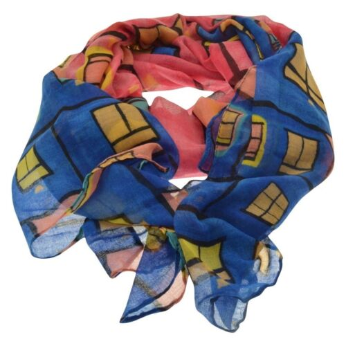 scarf with abstract house print multi coloured