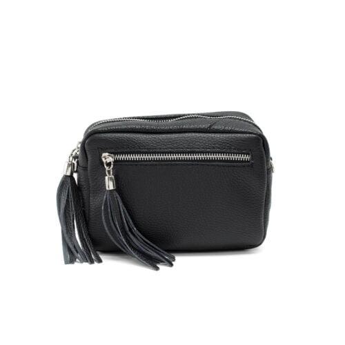 Black small leather shoulder bag