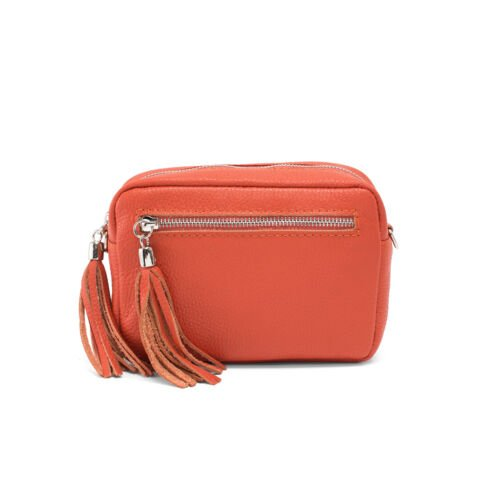 small leather crossbody handbag Orange