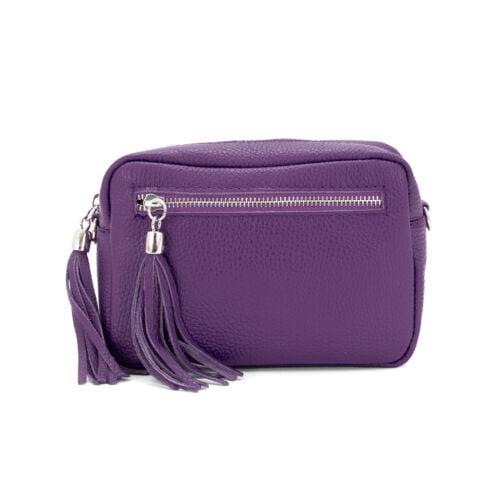 small leather crossbody bag purple