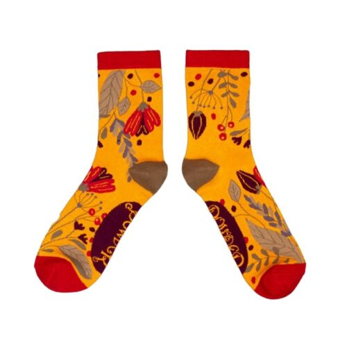Powder Bamboo Ankle Socks. Floral Mustard