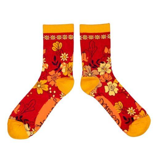 Powder Bamboo Socks. Floral Fuchsia