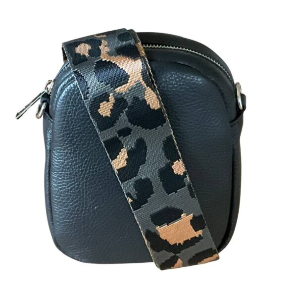 Leather Bag Gray with Leopard Strap