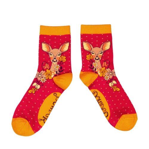 Powder Bamboo Socks. Deer. Fuchsia