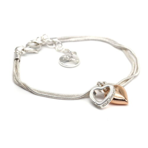 Silver Plated Triple Layer Bracelet with Hearts