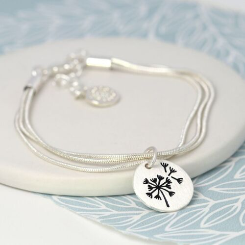 Silver plated dandelion charm bracelet