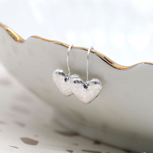 Silver Plated Hammered Heart Drop Earrings