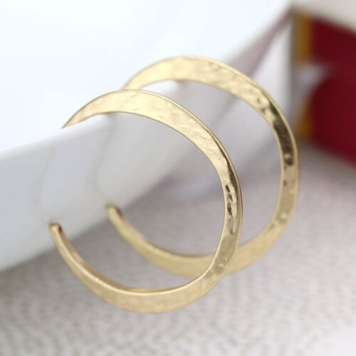 Gold Coloured Hammered Hoops