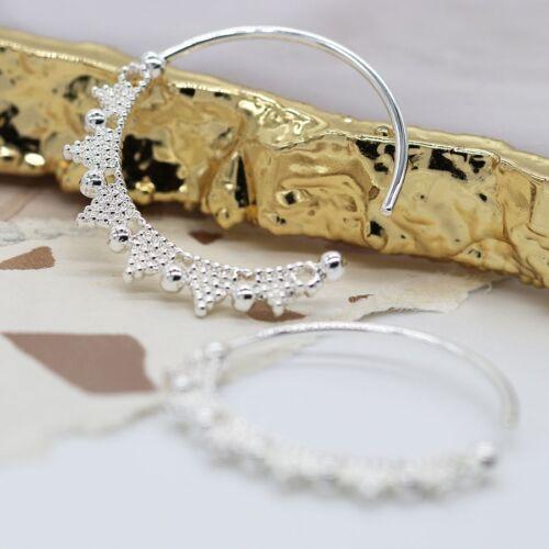 Silver Plated Beaded Zig Zag Earrings