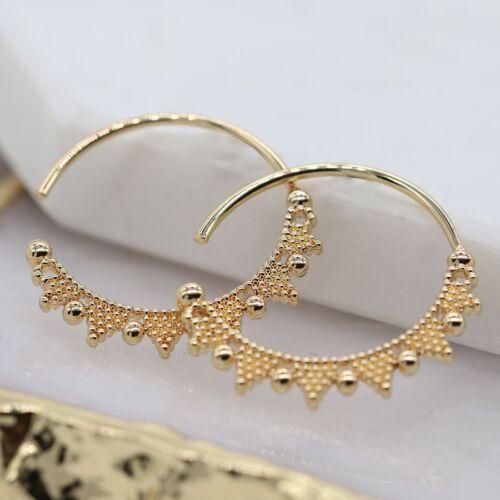 Gold Plated Hoop Zig Zag Beaded Earrings