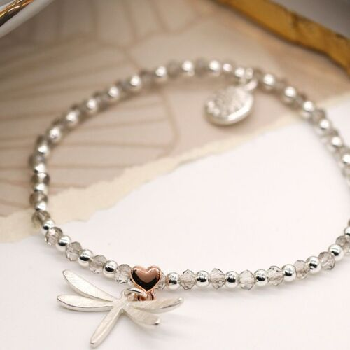 Silver and rose gold plated beaded bracelet with Dragon Fly Charm