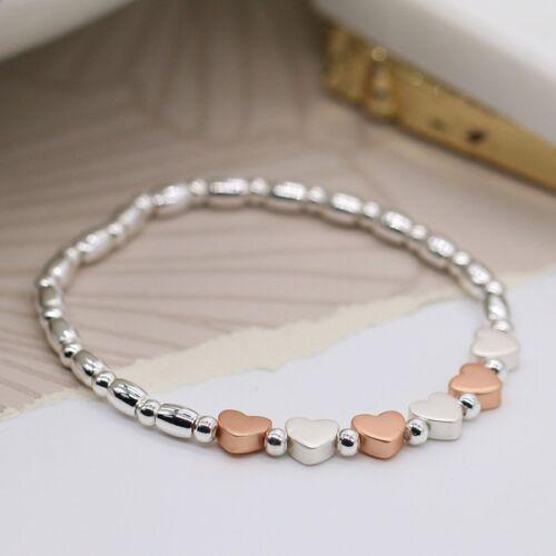 Silver Plated Rose Gold Stretch Bracelet