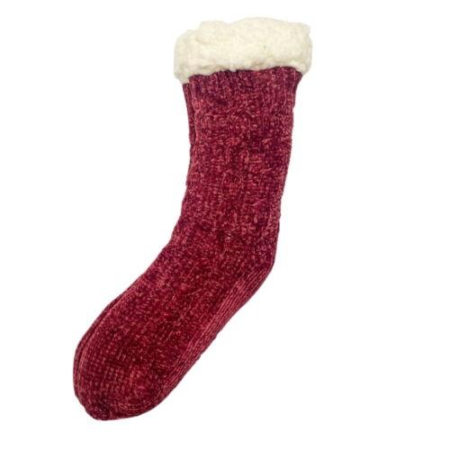 Red Chenille Slipper Socks