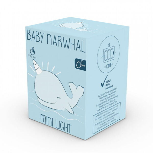 Boxed baby narwhal colour changing night light