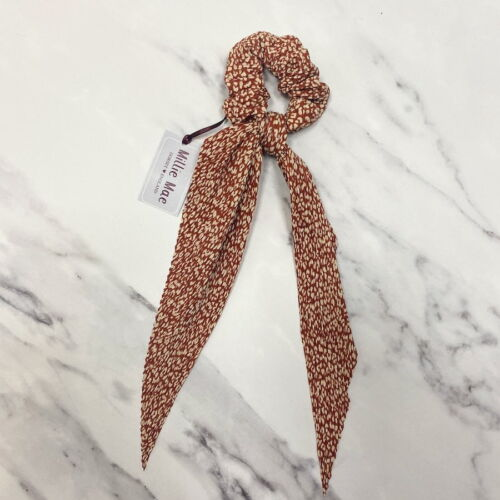 Hair Scrunchie with tail . Rust