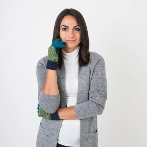 Blue Wool Gloves With Stripes